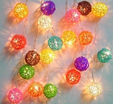 New Solar Powered Led Mixed Colours Rattan Garden Lantern Fairy Light String