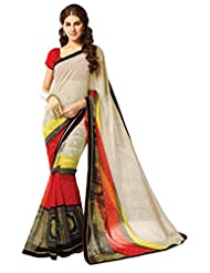 Colors Fashion Off White Faux Georgette Latest Designer Printed Saree With Lace Border Work