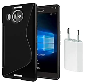 Microsoft Lumia 950 Anti-Shock Proof High Quality TPU Material Back Case Cover with USB CHARGER (Combo Offer Pack of USB Charger and Back Cover)