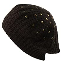 Winter Warm 2ply Lined Metal Studds Chunky Thick Beret Beanie Ski Hat Cap Black