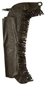 Tough 1 Smooth Leather Chap with Fringe, Brown, Large