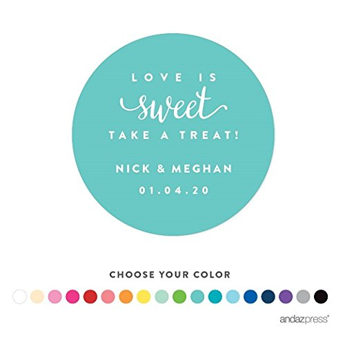Andaz Press Personalized Circle Labels, Wedding, Love is Sweet Take a Treat, 40-Pack - Custom Made Any Name (Personalized Elmo Gifts compare prices)