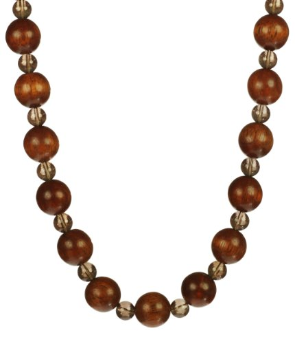 Wood and Smokey Quartz Beads Necklace, 18