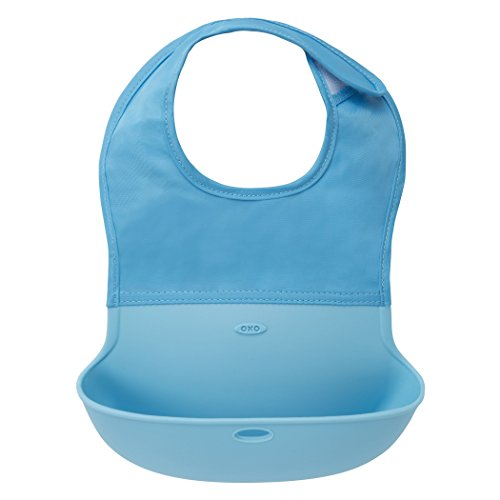 OXO Tot Silicone Roll Up Bib with Comfort-Fit Fabric Neck, Aqua (Silicone Yogurt Baby compare prices)