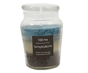 Temptations Layered Candle In Glass Jar 100 Hour Burn - White Tea & Ginger by PinkWebShop