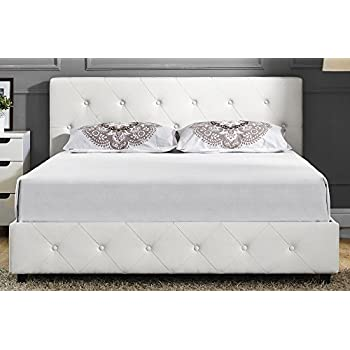 DHP Dakota Upholstered Faux Leather Platform Bed with Wooden Slat Support and Tufted Headboard and Footboard, Queen Size - White