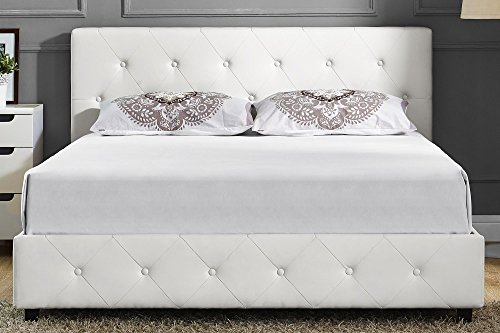 Wayfair Tufted Headboard And Metal Headboard Wooden White: DHP Platform Bed, Dakota Faux Leather Tufted Upholstered