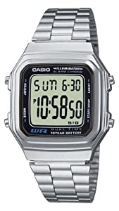 CASIO Collection A178WEA-1AES - Reloj unisex de cuarzo, correa de acero inoxidable color plata marca Casio