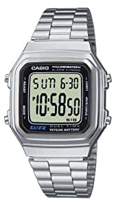 CASIO Collection A178WEA-1AES - Reloj unisex de cuarzo, correa de acero inoxidable color plata