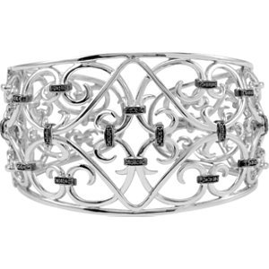 Genuine IceCarats Designer Jewelry Gift Sterling Silver 1/3 Ctw Black Diamond Cuff Bracelet