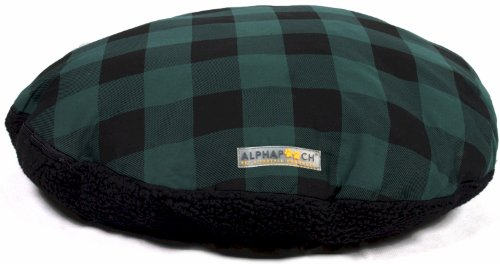 AlphaPooch Drifter Round Dog Bed, Green Check Fabric with Black Fleece, Large