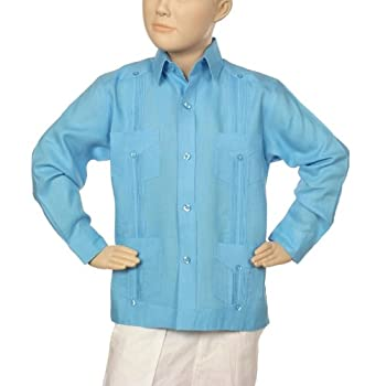 Boys linen guayabera shirt in turquoise blue