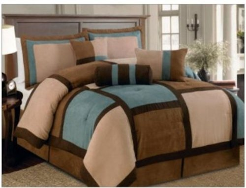 7 Pieces Aqua Brown & Beige Micro Suede Patchwork Comforter Bedding Set Washable King Size front-69304