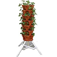 Vertical Gardening Vegetable Tower - Indoor / Outdoor Tiered Backyard Plant Stand and Pots - Tall Standing Pot Plant Holder - Sturdy Stacking Pots Stand for Poinsettia Herbs Strawberries Flowers Peppers and Veggies