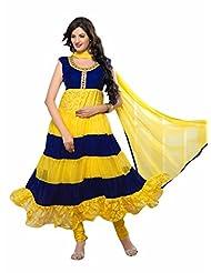 Trendz Apparels Yellow And Blue Net Brasso And Velvet Anarkali Suit Salwar Suit