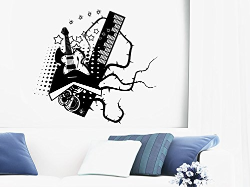 Wall Decal Vinyl Sticker Decals Art Decor Design Abstract Guitar Electro Music Stars Coor Rock Pattern Mans Gift Bedroom Dorm Office (R1132) front-941701