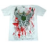 New Tattoo Cross Crown Graphics Print T Shirt - White Red Grenades