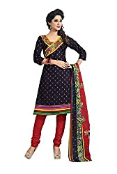 Aryahi Womens's Cotton Dress Material (70323CVAR_Black )