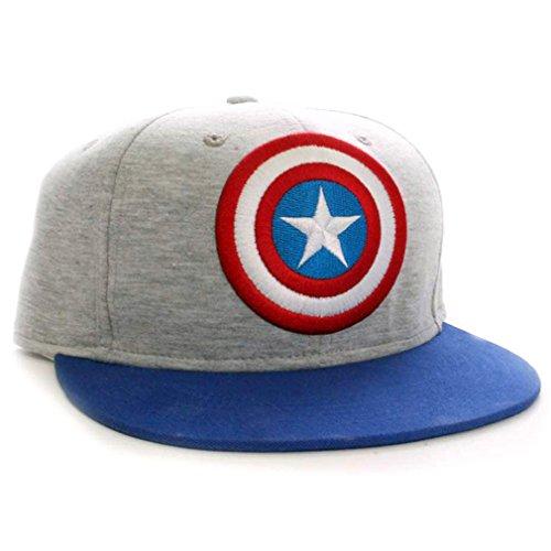 Marvel Comics Captain America Uomo Classic Logo Grigio-Cappellino Baseball Cap