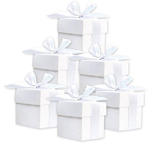 50 scatole regalo (bianco) per matrimonio, battesimo, nascita