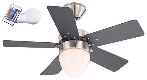 7,5 Watt RGB LED Decken Ventilator Farbwechsler Beleuchtung Zugschalter Glas Fernbedienung