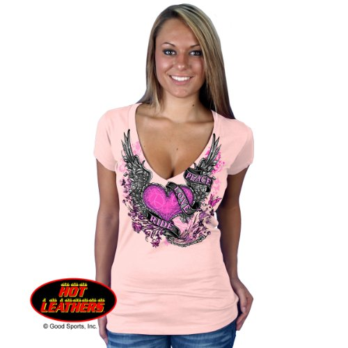 Ladies Peace, Love, Ride Ladies V-Neck Short Sleeve Tee Pink Large