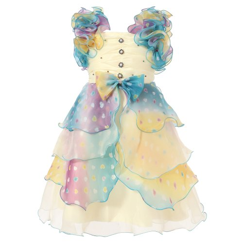Richie House Girl'S Dress With Multilayered Pastel Ruffles And Pearlâ Size 3-8 Rh0920-C-3/4