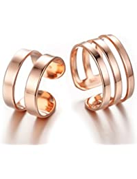 Karatcart 24K Rose GoldPlated Elegant Parallel Shanks Couple Adjustable Band Ring