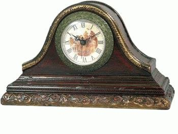 Wooden Real Antique Look Mantle Clock With Mural Scene