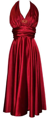 Marilyn Satin Halter Bridesmaid Dress Junior Plus Size Holiday Prom Gown, 2X, Red
