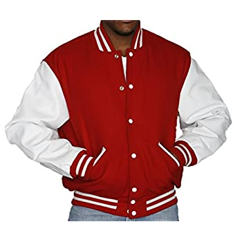 63e3873d3 Review Stewart & Strauss Red Wool White Leather Varsity Jackets ...
