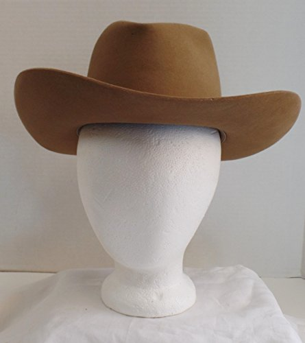 VINTAGE STETSON 3X BEAVER BROWN FELT COWBOY HAT 7 1/8 SIZE- SOLD BY THE TOGGELRY SHOP, GLENWOOD SPRINGS, COLORADO - LEATHER HAT BAND ON CROWN (FREE SHIPPING)