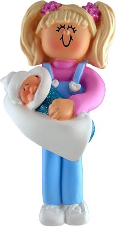 Blonde Big Sister with Baby Christmas Ornament
