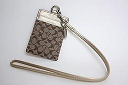 COACH Signature Metallic Gold / Khaki Lanyard ID Badge Holder 60357