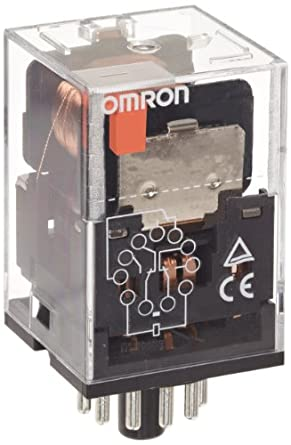 Omron MKS3P DC24 General Purpose Relay with Mechanical Indicator, Basic Model Type, Plug-In Terminal, Non-Standard Internal Connections, Triple Pole Double Throw Contacts, 55.8 mA Rated Load Current, 24 VDC Rated Load Voltage