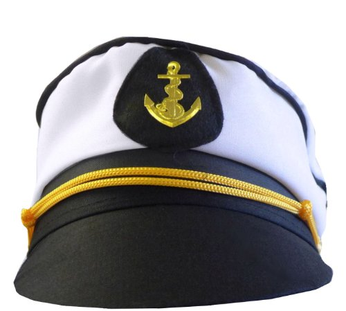 White/Black Navy Captain or Sailor Nautical Fancy Dress Unisex Party Hat