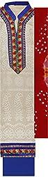 Preety Women's Silk Semi Stitched Dress Material (PW052, Cream)