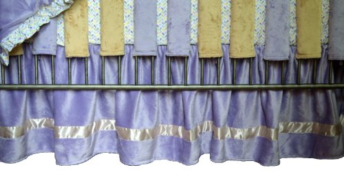 Go Mama Go Designs Lavender & Latte Minky Dust Ruffle with Love Petal Ruffle Trim - 1