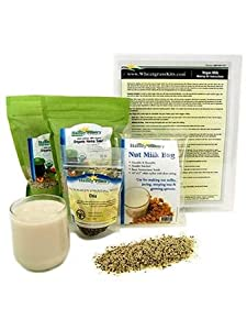 Organic Hemp Milk Making Kit - Includes Hemp Hearts, Nut Milk Bag, Instructions & More - Make Vegan Hemp Seed Milk