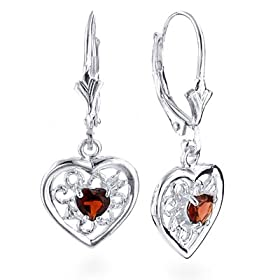 Sterling Silver Filigree Heart Garnet Earring