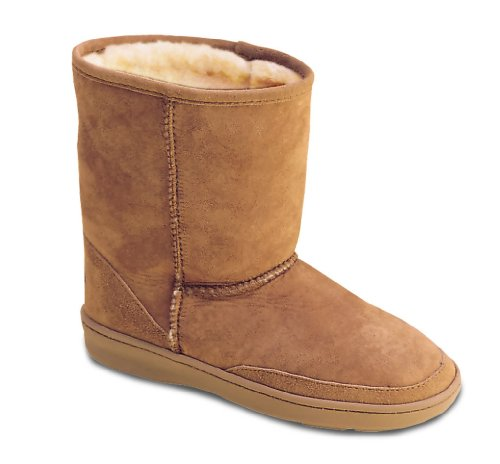 Kids' Minnetonka Moccasins® Sheepskin Pug Boots, GOLDEN TAN, 2