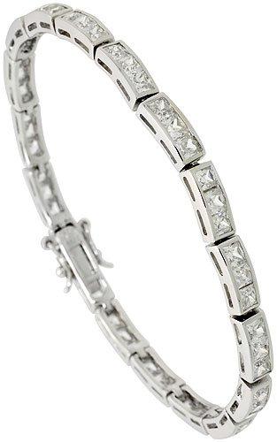 Sterling Silver 8.75 ct. size 3-Stone Channel Set CZ Bracelet, 5/32 inch wide