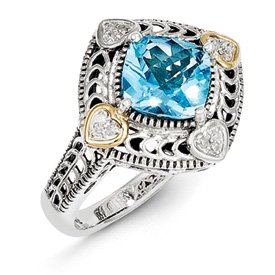 Genuine IceCarats Designer Jewelry Gift Sterling Silver W/14K Diamond & Blue Topaz Ring Size 8.00