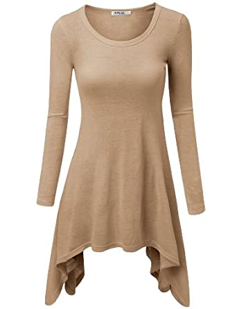 Womens Modern Casual Slim Fit 3Colors Long T-Shirts BEIGE (US-S)