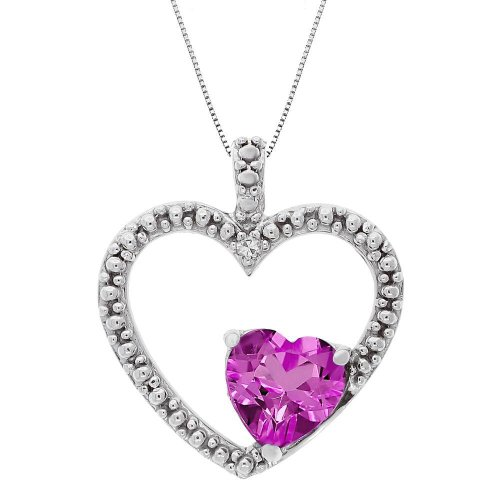 Created Pink Sapphire and Diamond Double Heart Pendant
