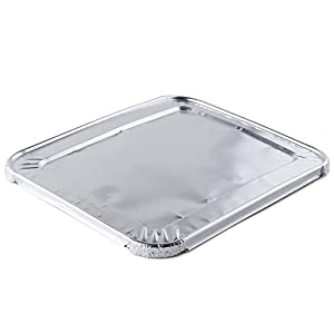 Half Size Foil Steam Lids - 30 Count by Catering Essentials