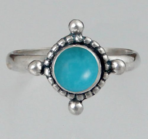 Sterling Silver Filigree Ring Featuring a Genuine Turquoise Made in America