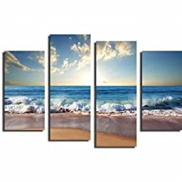 BOON@Beach Seascape 4Pcs Combination Painting Printed On Canvas Frameless Drawing Home Wall Decor