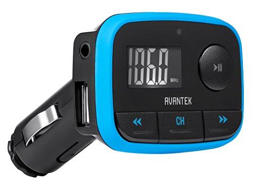 AVANTEK Transmetteur émetteur FM voiture universel Adaptateur radio sans fil avec Port de charge 1.0 A Entrée auxiliaire (3.5 mm jack), Bleu