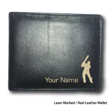 Mens Personalised Leather Wallet Gift - Cricket Batsman - Engraved With A Message or Name
